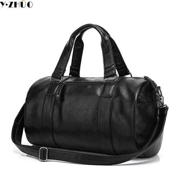 Alta calidad de los hombres bolsa de viaje de cuero ocasional de los hombres bolso de los hombres de la vendimia Estilo Preppy bolsa de mensajero de los hombres bolsa de lona del hombro negro