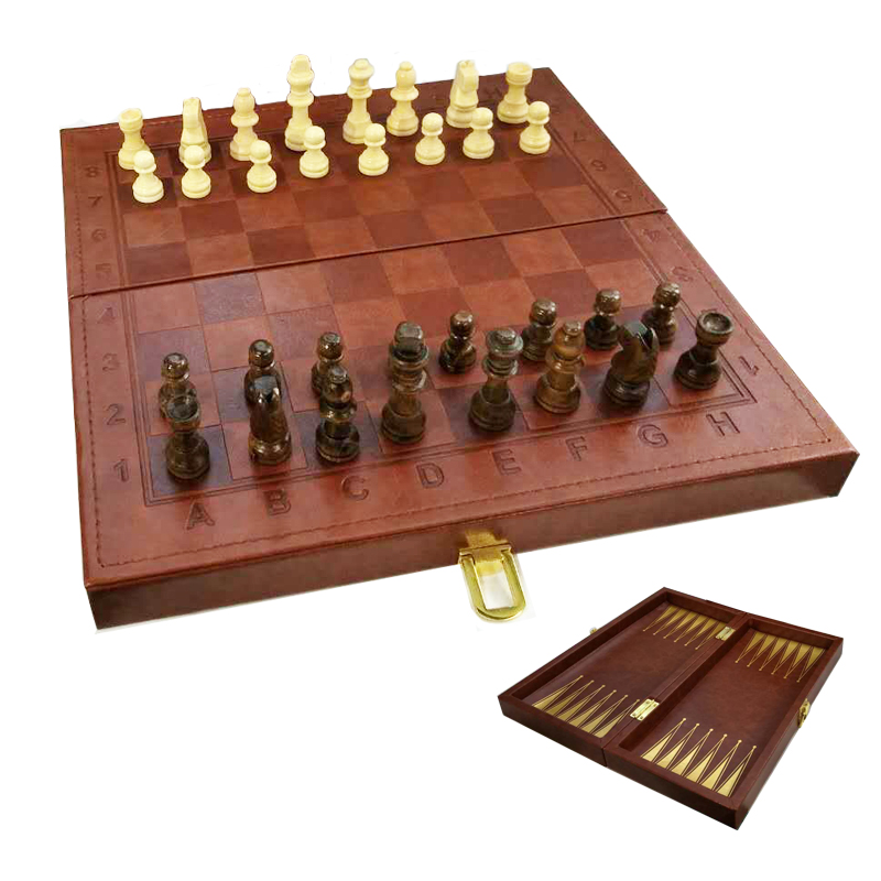 BSTFAMLY PU leather chess set, portable game of international chess, folding chessboard wooden chess pieces game, LA60 bstfamly carving wooden chess set game portable game of international chess folding chessboard wood chess pieces chessman i13