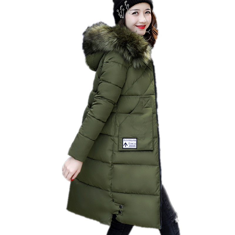 Fur Collar Hooded Long Thick Cotton Parka Coat Winter Padded Jacket Women Warm Outerwear Casual Lady Chaqueta Mujer TT3022 zoe saldana 2017 winter women coat long cotton jacket fur collar hooded letter print outerwear femme casual parka