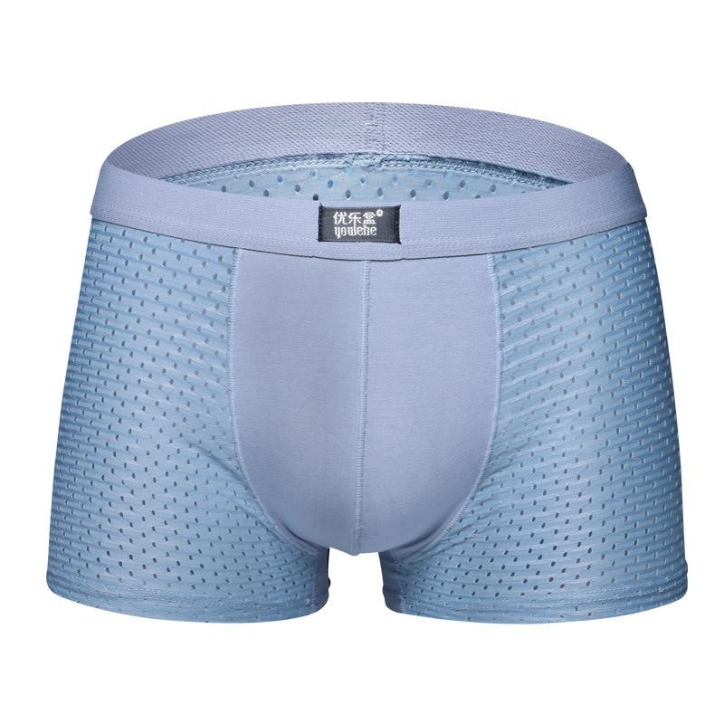 Men Underwear Boxer-Shorts Mesh Ice-Silk Sexy Man Breathable Men's Summer Cool Cueca