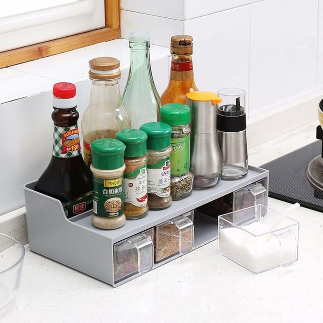 Home Kitchen Spice Rack Plastic Kitchen Organizer Shelf For Spices Supplies  Accessorie Seasoning Jar Storage Kruidenrek