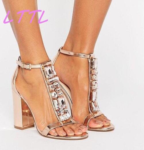 2017 Summer Fashion Gold Leather Women Sexy Chunky Heel Sandals Luxury T-Strap Ladies Ankle Buckle Sandals Elegant Shoe stylesowner elegant lady pumps sandal shoe sheepskin leather diamond buckle ankle strap summer women sandal shoe