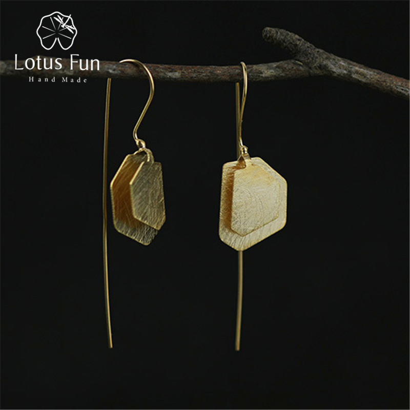 Lotus Fun Real 925 Sterling Silver Natural Original Handmade Fine Jewelry Irregular Polygon Dangle Earrings for Women Brincos