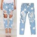 Plus Size 2017 Casual Ripped Jeans Boyfriend Jeans For Women Pants Print Star Jeans Woman Denim Hole Jeans Loose Femme P45