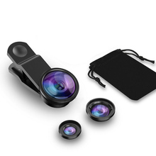Wide Angle Macro Fish Eye Lens Universal 3 in1  Camera Mobile Phone Lenses for iPhone Smartphone Accessories