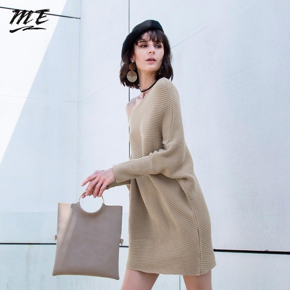Мне Платья-свитеры Для женщин с длинным рукавом ONeck свободные нерегулярные Свитеры для женщин и Пуловеры для женщин платье Весна Кашемировы...