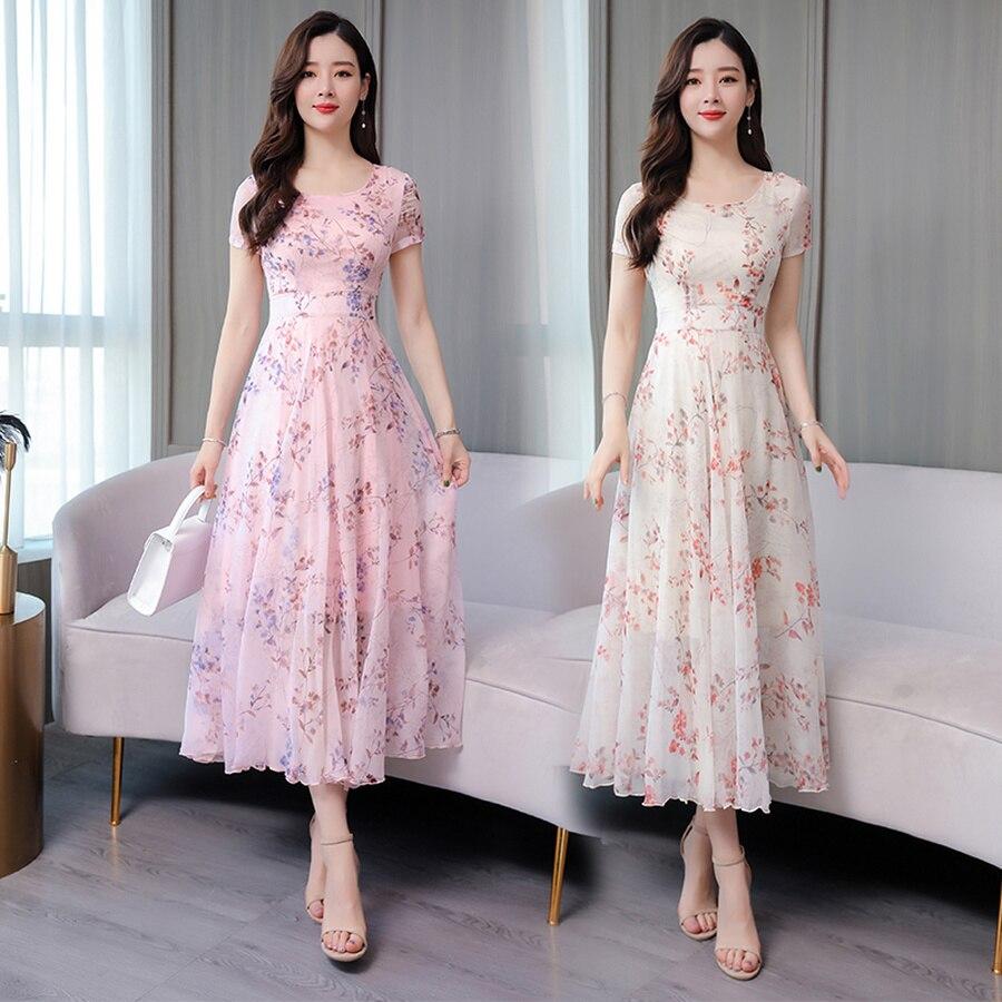 Summer 3XL Plus Size Print Boho Maxi Sundress 2020 Vintage Pink Floral Chiffon Beach Midi Dresses Women Elegant Bodycon Vestidos