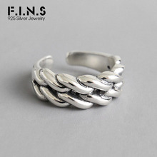 F.I.N.S 100% 925 Sterling Silver Finger Rings For Women Thick Chain Twist Adjustable Ring Female for Decoration Fine Jewelry f i n s 100% 925 sterling silver finger rings for women thick chain twist adjustable ring female for decoration fine jewelry