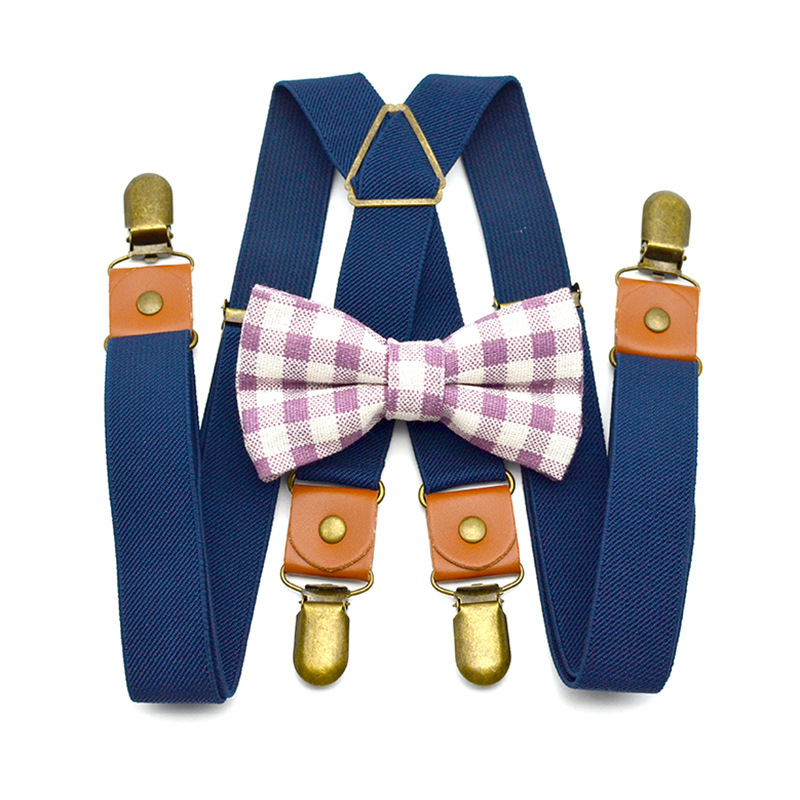 OnnPnnQ New Design Kids Solid Plaid Bow Set Retro 4 Clips Personality Unisex Adjustable Suspenders Boys Girl Elastic Braces