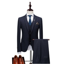 Mens Suit Formal Male 3 Pieces Plaid Suits Groom Wedding Business Classic Casual Style bridegroom Tuxedos