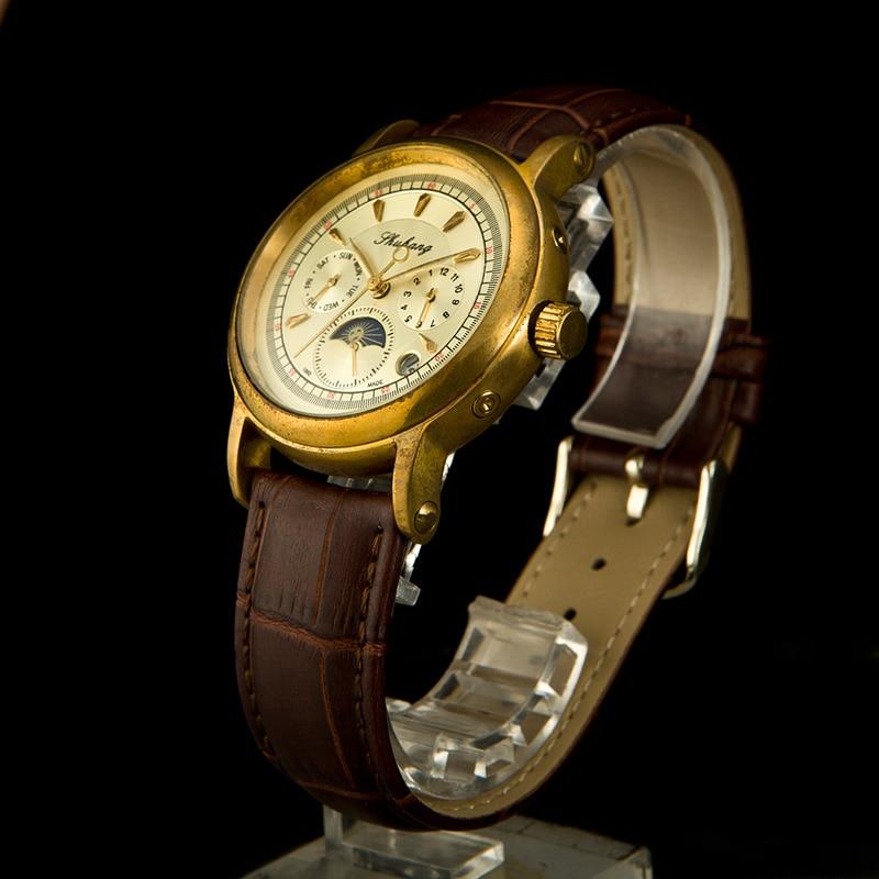Старый латунь для мужчин элегантный See Through moon phase специальные дизайн указатель Тип механические кожаные часы Классические наручные часы