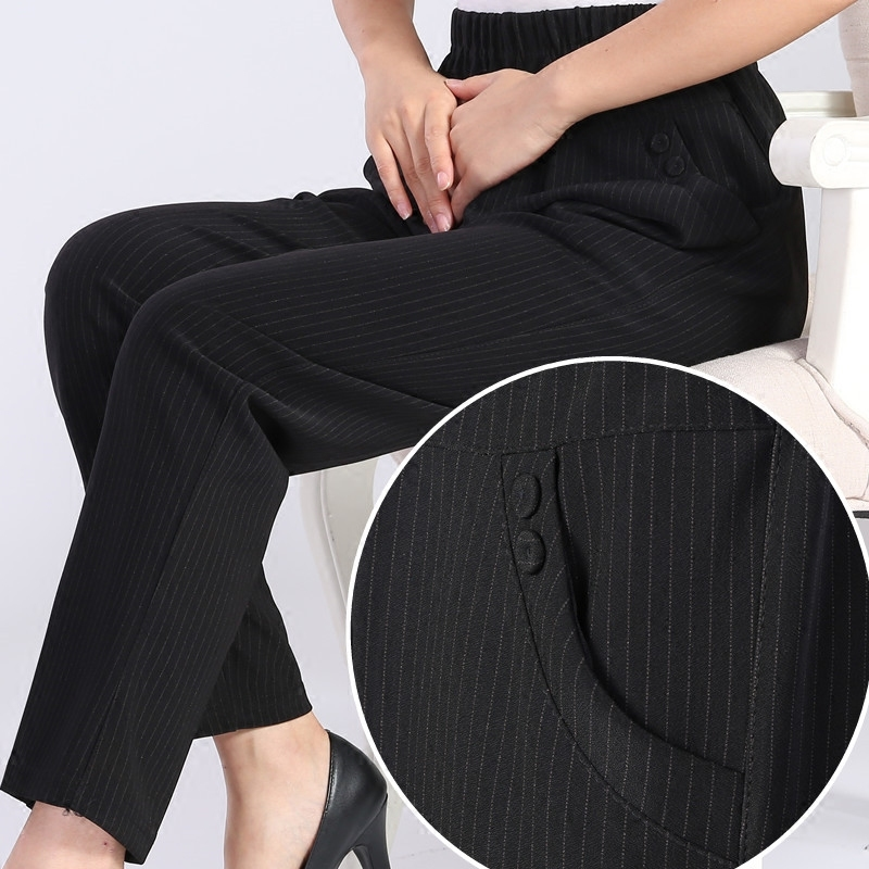 Quinquagenarian Women Spring Autumn Striped Pants Female Elastic Waist Plus Size Casual Mothers High Trousers