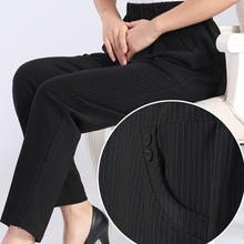 купить Quinquagenarian Women Spring Autumn Striped Pants Female Elastic Waist Plus Size Casual Mother's High Waist Trousers дешево