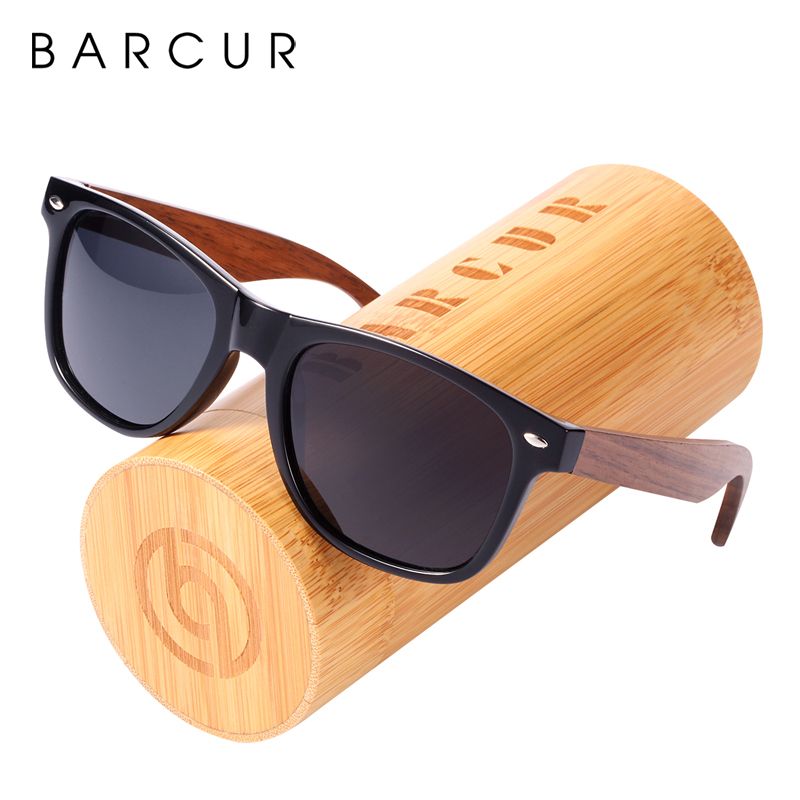 BARCUR Polarized Sunglasses Walnut Sun glasses Men With Plastic Frame Wooden Legs glasses Bamboo Shades oculos