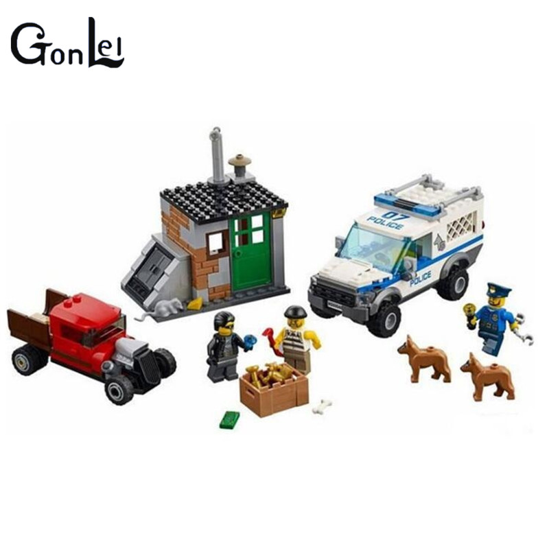 (GonLeI) 10419  City blocks Block Police Dog Unit 60045 Building Bricks BELA Policeman Toys For Children compatible lepin city block police dog unit 60045 building bricks bela 10419 policeman toys for children 011