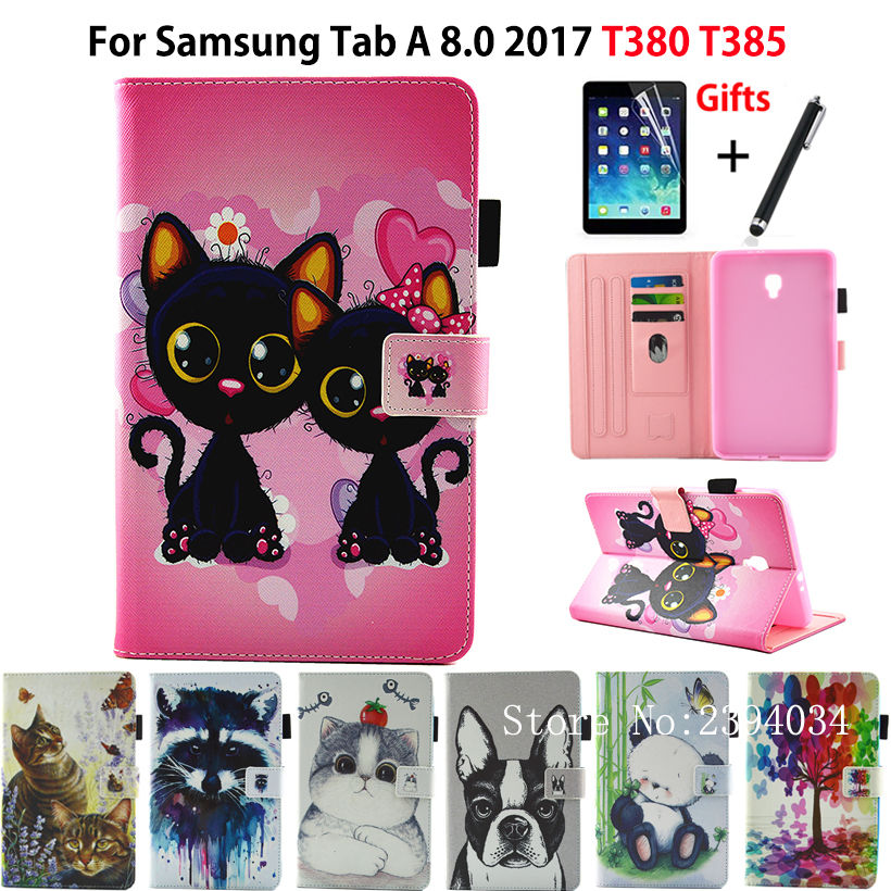 Fashion Animal Flip PU Leather Case For Samsung Galaxy Tab A 8.0 T380 T385 2017 8.0 Inch Smart Cover Cases Funda Shell