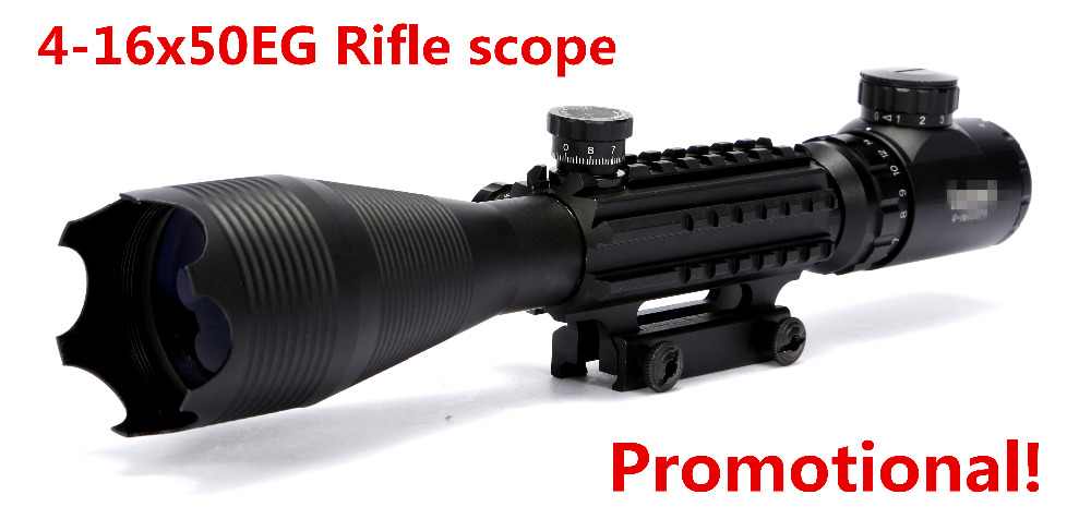 Airgun Rifle 4-16x50 Red Green Illuminated Reticle Riflescope Sniper Scope with 20MM Rail Mounts for Hunting telescope rifle marksman airgun bolts 12ct