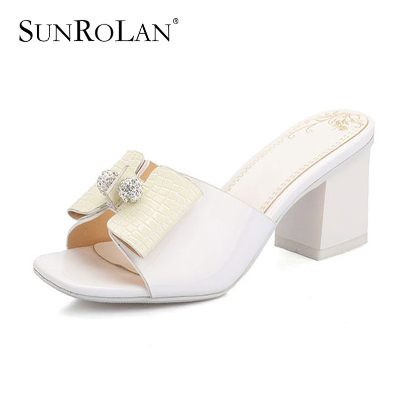 ФОТО SUNROLAN 2017 Summer Women Plus Size Slippers with High Heel Female Square Heels Sandals Open Toe Sexy Women Party Shoes 15640