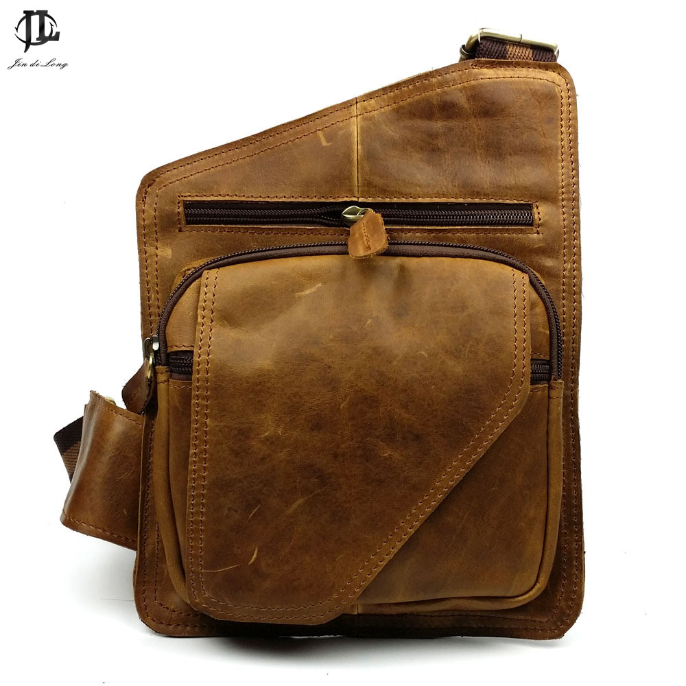 New Retro Design Style Oil Wax Genuine Leather Cowhide Men's Crossbody Shoulder Bag Travel Sling Bags Chest Bag Pack slow head layer cowhide handbag retro oil wax bag leather bag travel bag