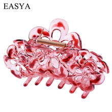 EASYA Large Plastic Hair Claw 6 Colors Flower Hairwear Crab Hair Clips For Women Girls Fashion Hair Accessories Ornaments(China)