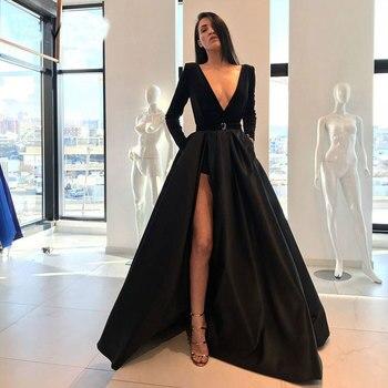 Black dark green velour prom party evening dresses vestido de noiva sereia gown satin robe de soiree elegant frock side slit 3