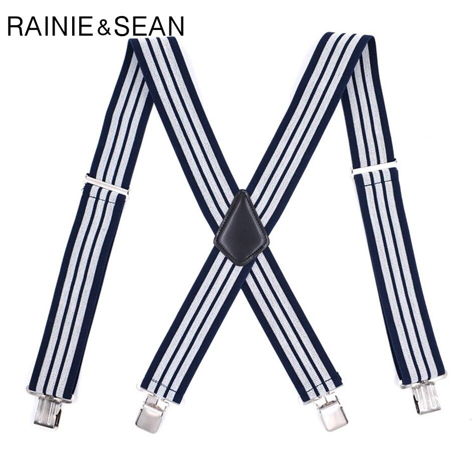 RAINIE SEAN Wide Suspenders For men navy striped Mens Braces For Trousers 4 Clips 5cm Leather Male Shirt Suspender Belt 120cm