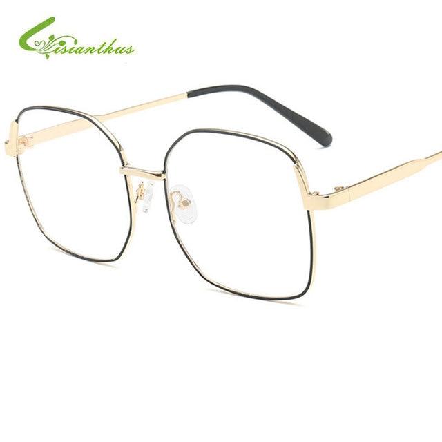 7e783f2b7cd 2019 Retro Style Women Men Punk Plain Glasses Frame Brand Designer Fashion  Square Metal Big Frame Optics Clear Lens Eyeglasses