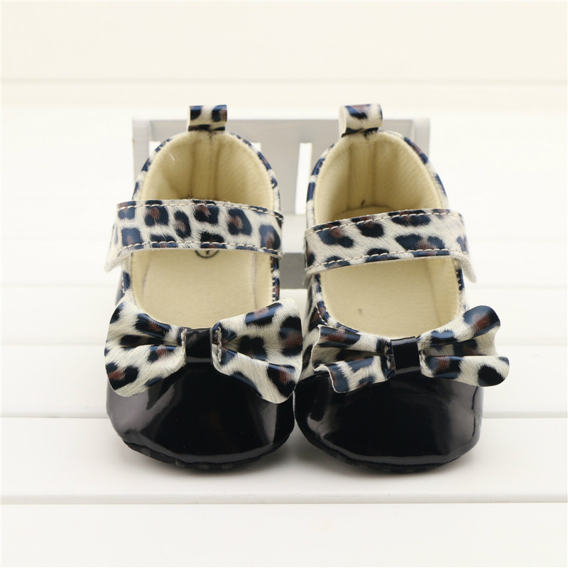 Fashion Newborn Baby Infant Toddler Prewalker Shoes Leopard Bowknot Soft Bottom Anti-slip PU Baby Girl Crib Shoes Footwear 0-18M