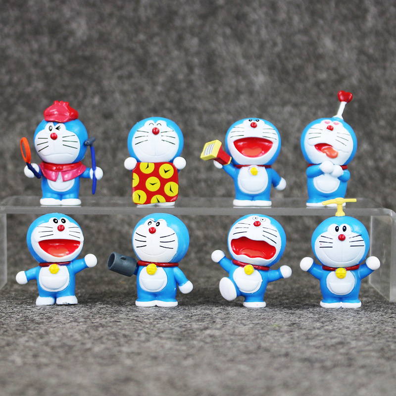 Anime Kartun Lucu Doraemon Mini PVC Tokoh Model Mainan Boneka 8 Pcs