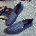 Hombres zapatos mocasines zapatos planos zapatillas de lona resbalón en los zapatos de conducción suave hombre ocio mocassin pisos tenis masculino homme FL078