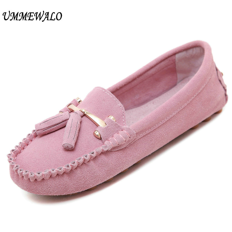 UMMEWALO Shoes Women Suede Leather Loafers Slip On Soft Moccasins Woman Comfortable Round Toe Flats Ladies Casual Flat Shoes new suede leather women shoes loafers slip on sewing driving flats tassel woman breathable moccasins blue ladies boat flat shoes