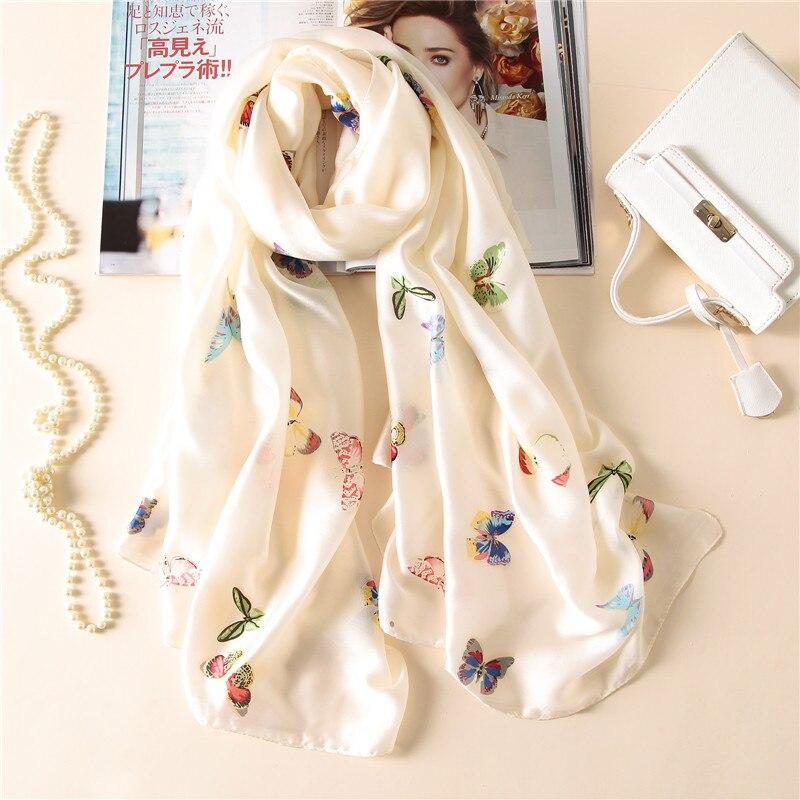 REALSISHOW 2019 Summer Autumn Women   Scarf   Fashion Brand Butterfly Print Shawls Silk   Scarves     Wraps   Pashmina Bandana Beach Hijab