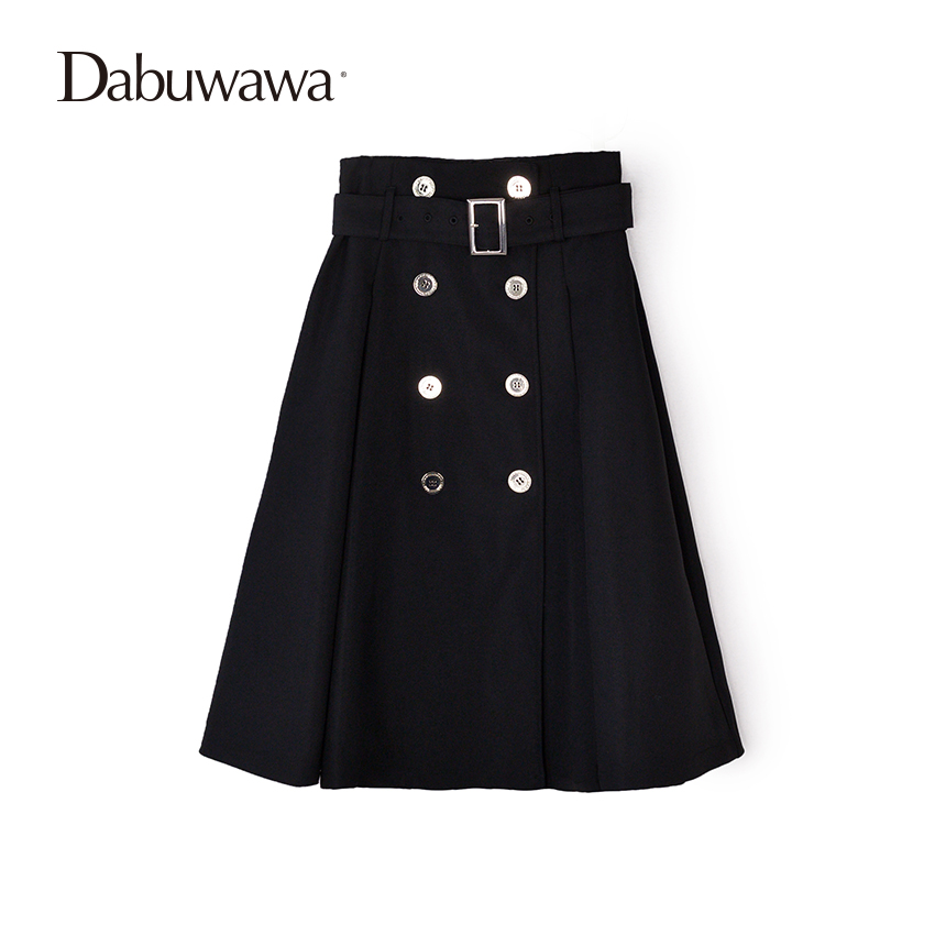 Dabuwawa Two Colors Spring Skirts Women's Solid A Line Knee Length Skirt Female Vintage High Waist Office Lady Skirt With Belt dabuwawa two colors winter basic pleated skirt women long skirt solid office elegant black woolen skirt