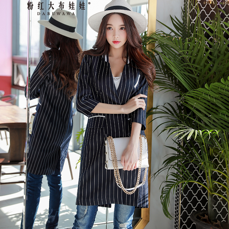 Dabuwawa Women Autumn Striped Jacket Black V neck Office Lady Long Jackets Double Breasted Wide-Wasted Slim Outwear