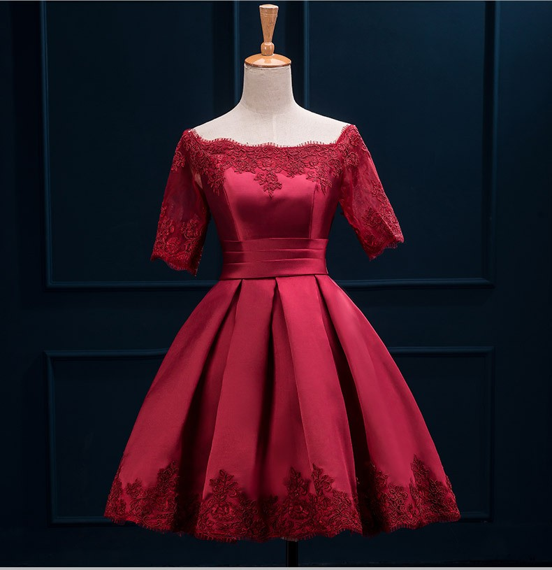 2018 Dresses Short Sleeve Burgundy Prom Above Knee Length Satin Lace Appliqued Boat Neckline Women Party Dresses in Prom Dresses from Weddings Events
