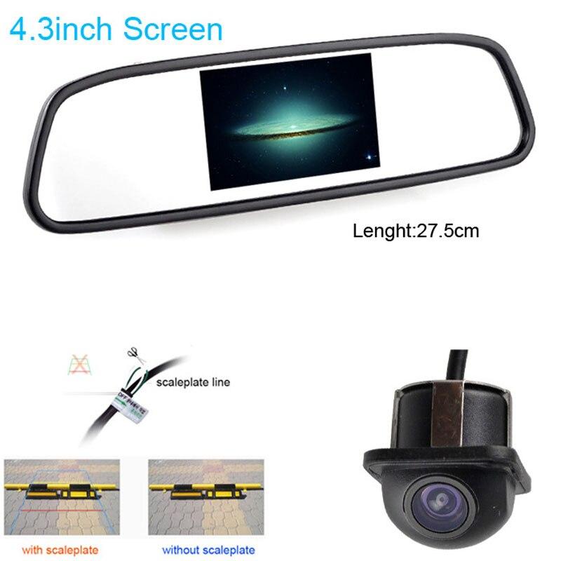"4.3\"" Car <font><b>LCD</b></font> TV/DVD Mirror Screen CCD 140degree Rear View Parking Monitor/Camera kits"