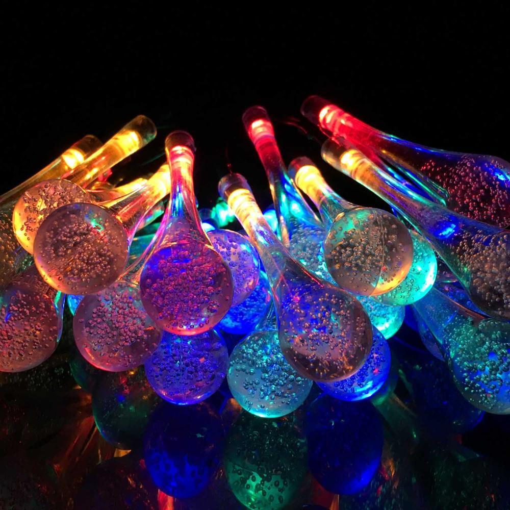 20/30 светодиодный уличный Сказочный светящаяся гирлянда Солнечная Капля воды Водонепроницаемый светодиодный гирлянда на солнечной батарее садовое, Рождественское украшение - Испускаемый цвет: changeable