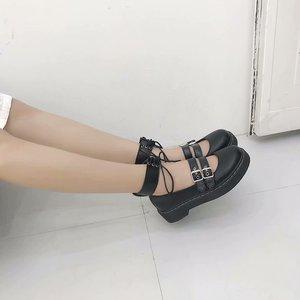 Image 2 - 로리타 신발 Uwabaki JK 라운드 발가락 버클 스트랩 레이스 업 일본 학교 학생 제복 드레스 여자 블랙 귀여운 로우 컷 펌프