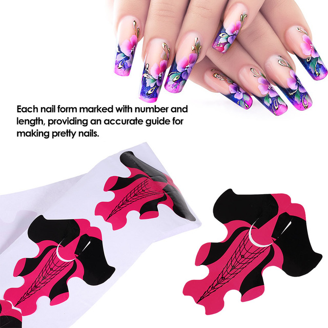100pcs Nail Art Extension Guide Form Tips Stickers Polish Tip For Acrylic Uv Gel