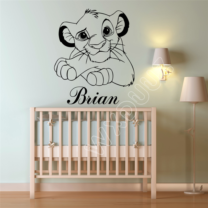 Us 4 99 Lion King Art Decor Custom Name Cartoons Vinyl Sticker Simba Nursery Wall Stickers For Kids Rooms Mural B608 In