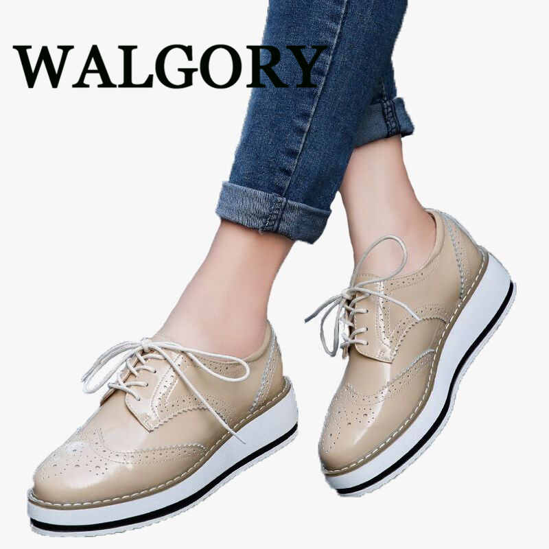 WALGO Women Platform Oxfords Brogue Flats Shoes Patent Leather Lace Up Pointed Toe Brand Female Footwear Shoes women Creepers qmn women genuine leather platform flats women cow leather oxfords retro square toe brogue shoes woman leather flats creepers