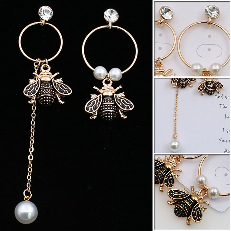 1pair High Quality Hot Design Honey Zircon Asymmetric Bee Pearl Earrings Golden For Women Fashion Luxury Jewelry Distinctive For Its Traditional Properties