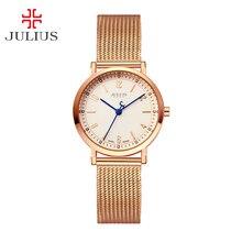 New julius senhora das mulheres amantes da moda relógio de pulso horas pulseira vestido do negócio de aço inoxidável presente do valentim de aniversário da menina 867
