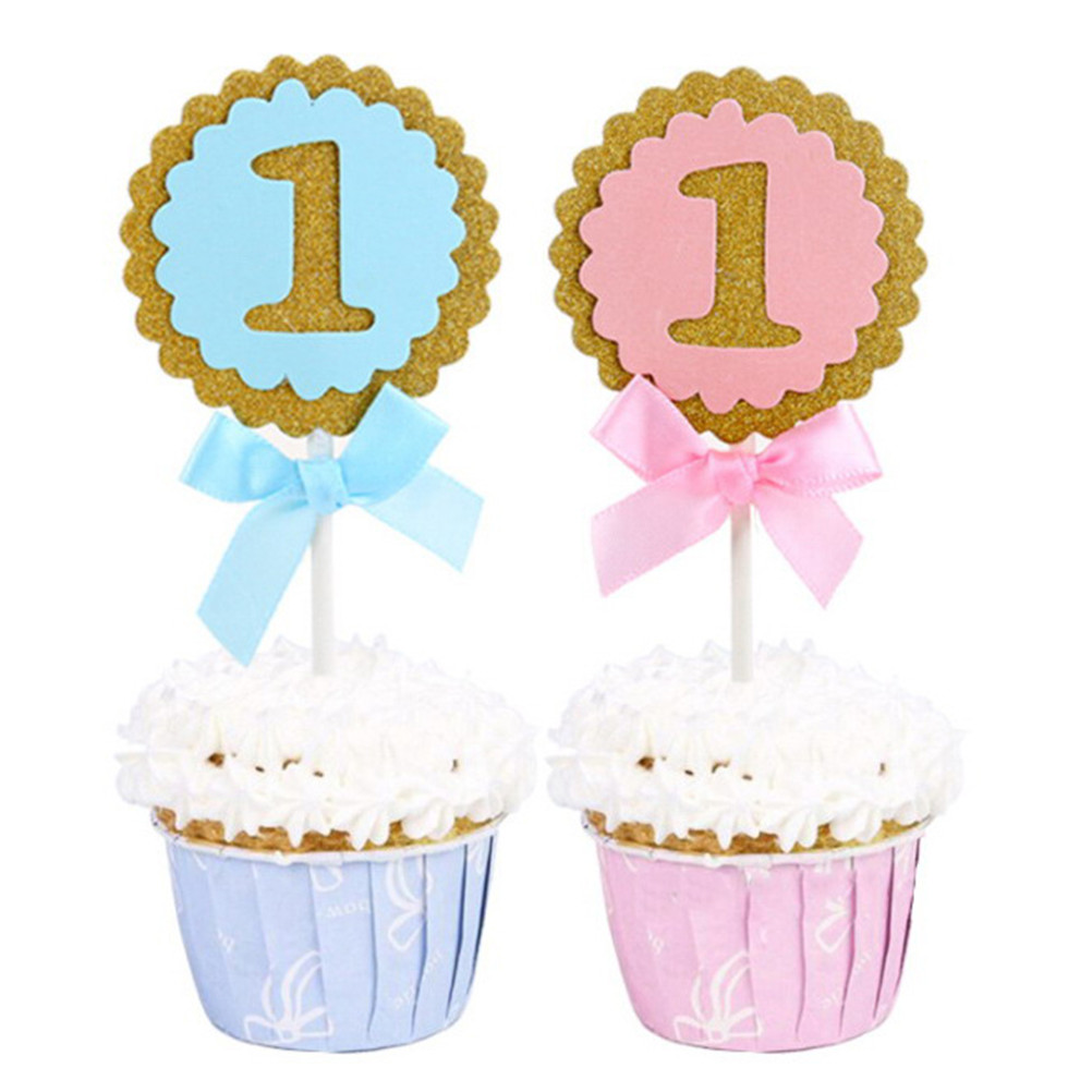 Home Cake Decorating: 5pcs 1st Birthday Party Round Cupcake Toppers Glitter