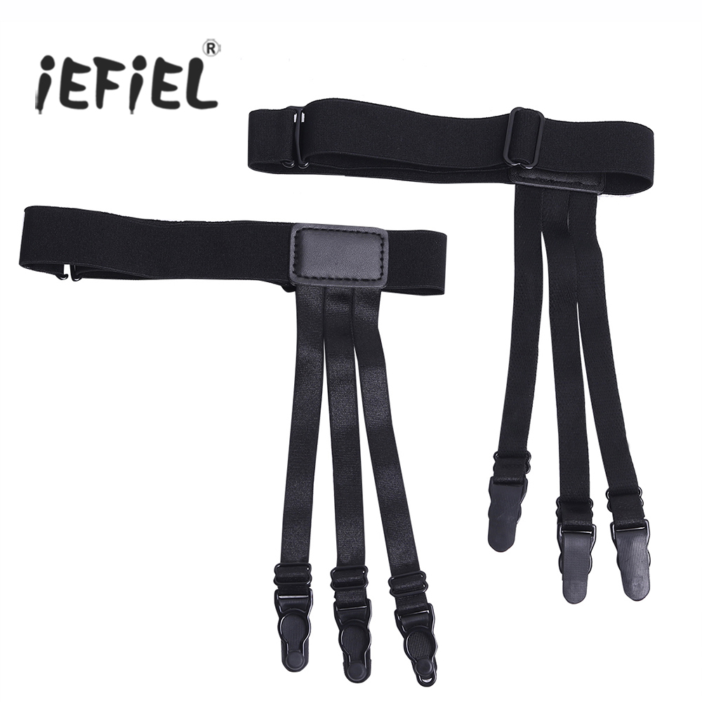 1Pair Unisex Uniform Shirt Stays Holders Elastic Suspender Garter Belts with Non-slip Plastic/Duck-Mouth Clips for keeping shirt