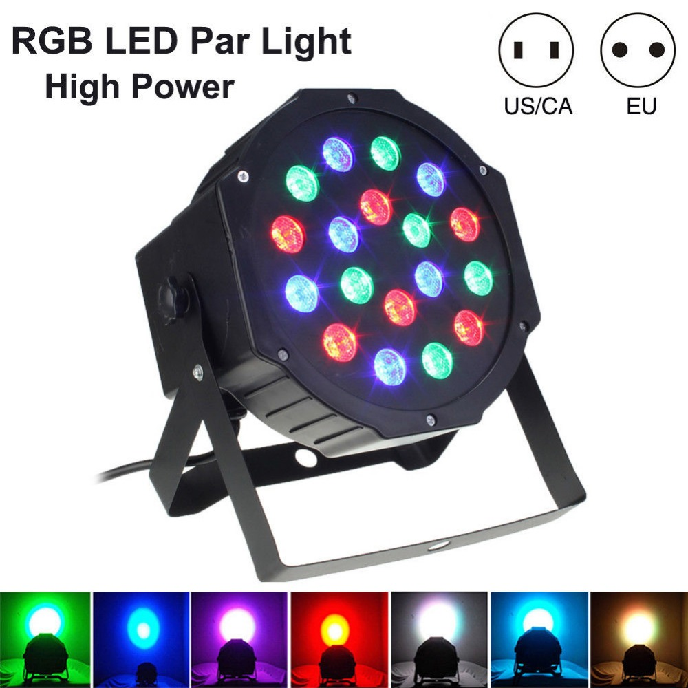 LumiParty Free Shipping DJ Disco Professional LED Stage Lights EU/US Plug 18 RGB PAR BAR DMX512 Master-Slave Flat Projector Lamp
