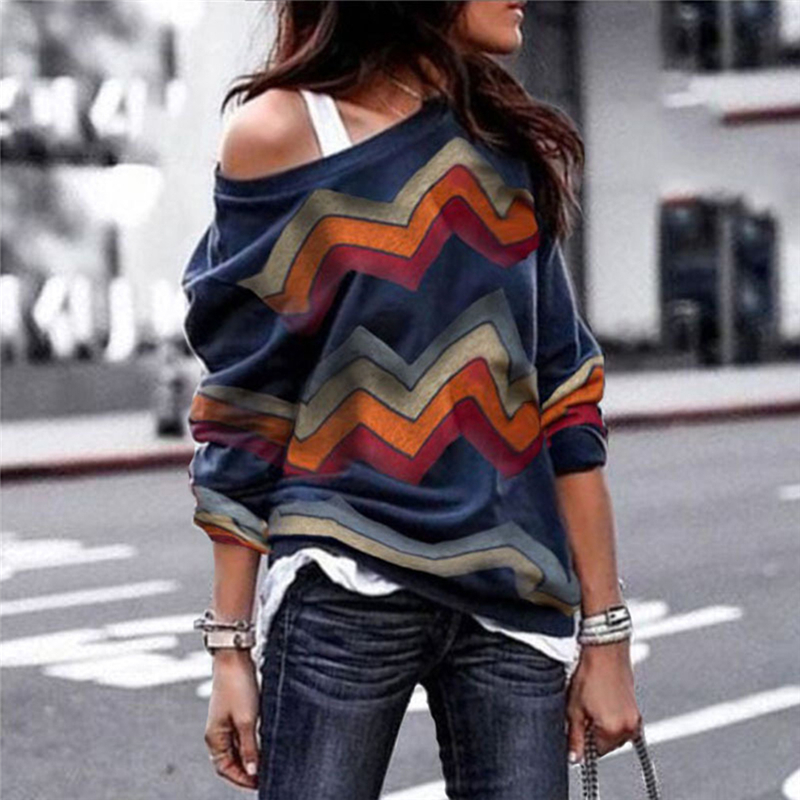 Fashion Women Casual Printed T-shirt Women Sexy Strapless T-shirt Round Neck Long Sleeve Female Tops Chemise Femme streetwear