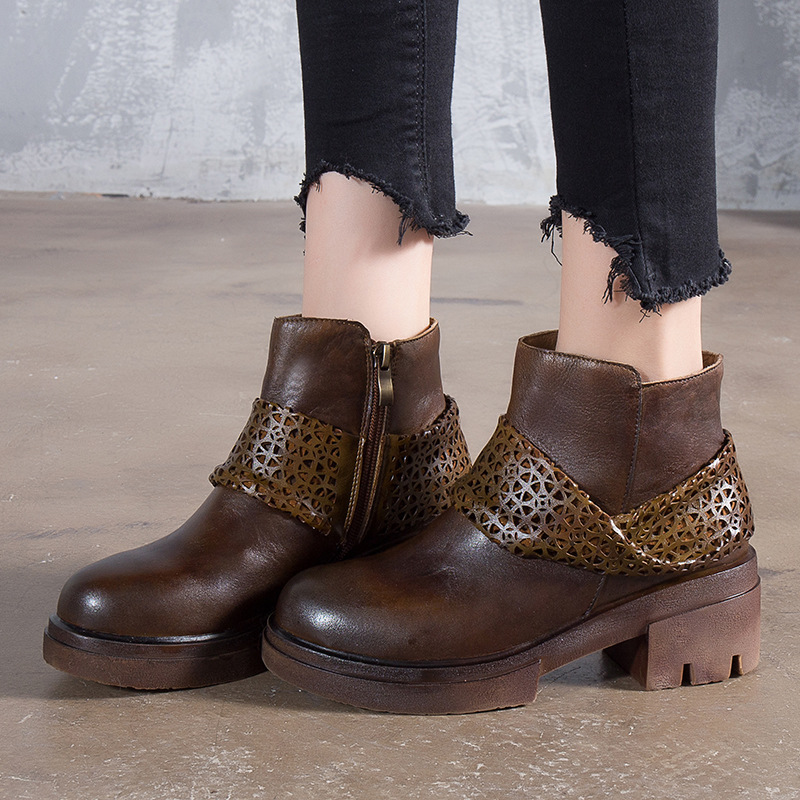 Women 6 CM High Heels Martin Boots Genuine Leather Winter Shoes Women 2018 Ankle Boots Leather Retro Women Handmade Boots Brand цены онлайн
