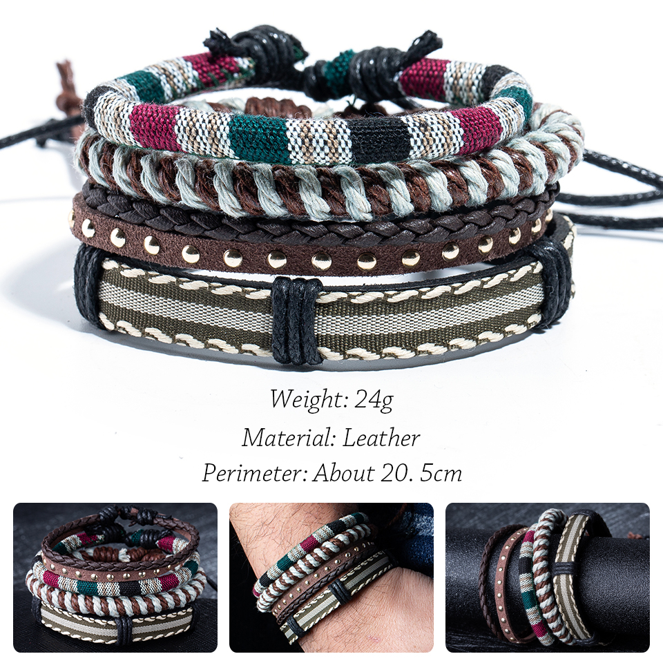 Brown Leather Mens Bracelet