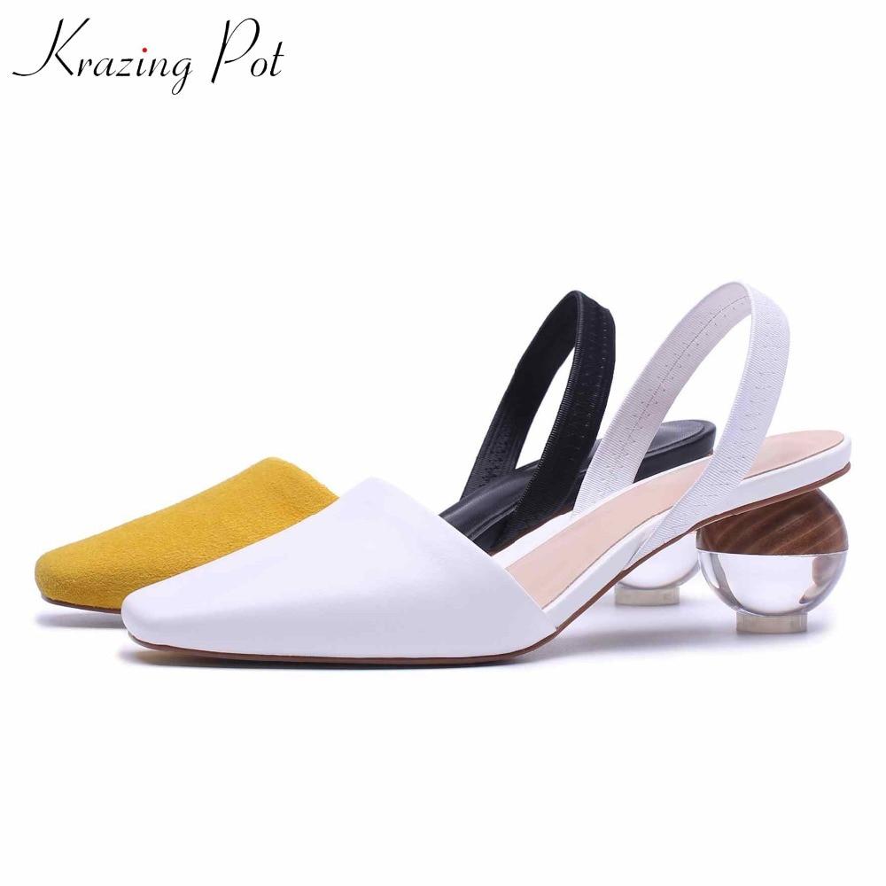 Krazing Pot genuine leather elastic band strange style heels 5 5cm superstar streetwear slingback original design